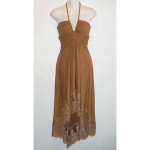 SKY Brown Sueded Poly Halter Dress Lace Hem Boho